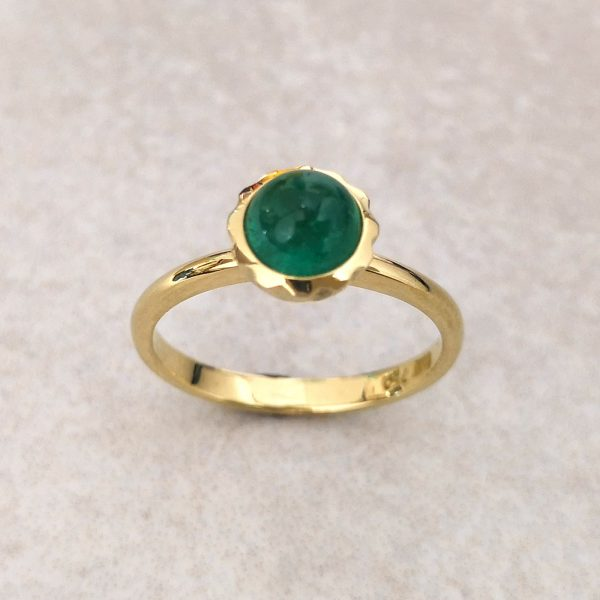 """18ct Gold Emerald """"Cupola"""" Ring -- A beautiful emerald cabochon framed in a scalloped bezel on an elegant shank. It's hard to beat the colour combination of emerald and yellow gold but we can make this ring with any gemstone you can imagine, just get in touch. Emerald measures 6mm diameter. Finger Size: M ½. David Wilson Jewellery Shop"""