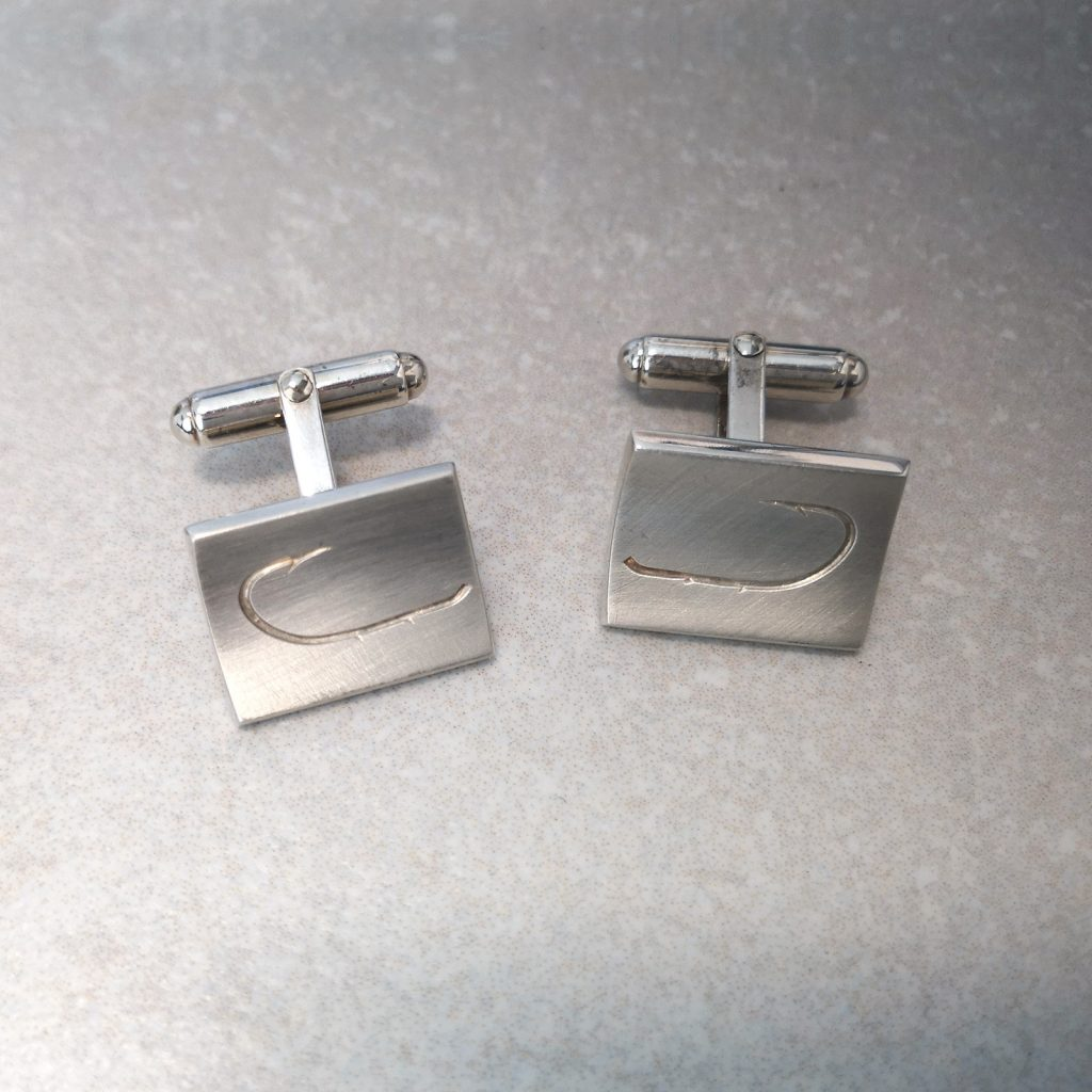 "Sterling Silver ""Fish Hook"" Cufflinks -- Fish hook cufflinks, slightly curved, matted front, high polish back. They look the part. Measures 18mm X 14mm. David Wilson Jewellery Shop"