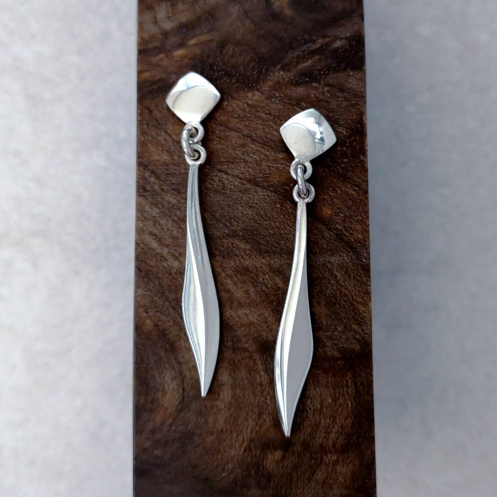 Handmade Sterling Silver Blade Drop Earrings -- Handmade sterling silver blade drop earrings. These elegant, sleek drop earrings are perfect for a wild night out or special night in. Total length of earring 40mm supplied with large backs for extra comfort and security. David Wilson Jewellery Shop