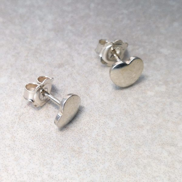 Silver Love Heart Ear Studs -- Gorgeous silver love heart ear studs, perfect for any age. Handmade. Ear studs measure 7.5mm by 7.5mm and come with large earring backs for comfort and safety. David Wilson Jewellery Shop