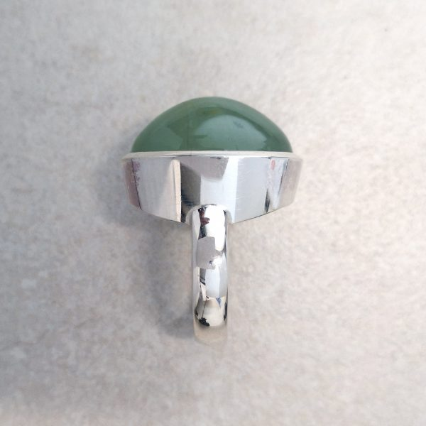 """Seafoam Chalcedony Ring -- A large oval """"seafoam green"""" chalcedony set in a tapered full bezel. Handmade in sterling silver. A cool, calming, understated colour in a bold confident ring. Gemstone measures 21mm x 14mm. Finger Size: N. David Wilson Jewellery Shop"""