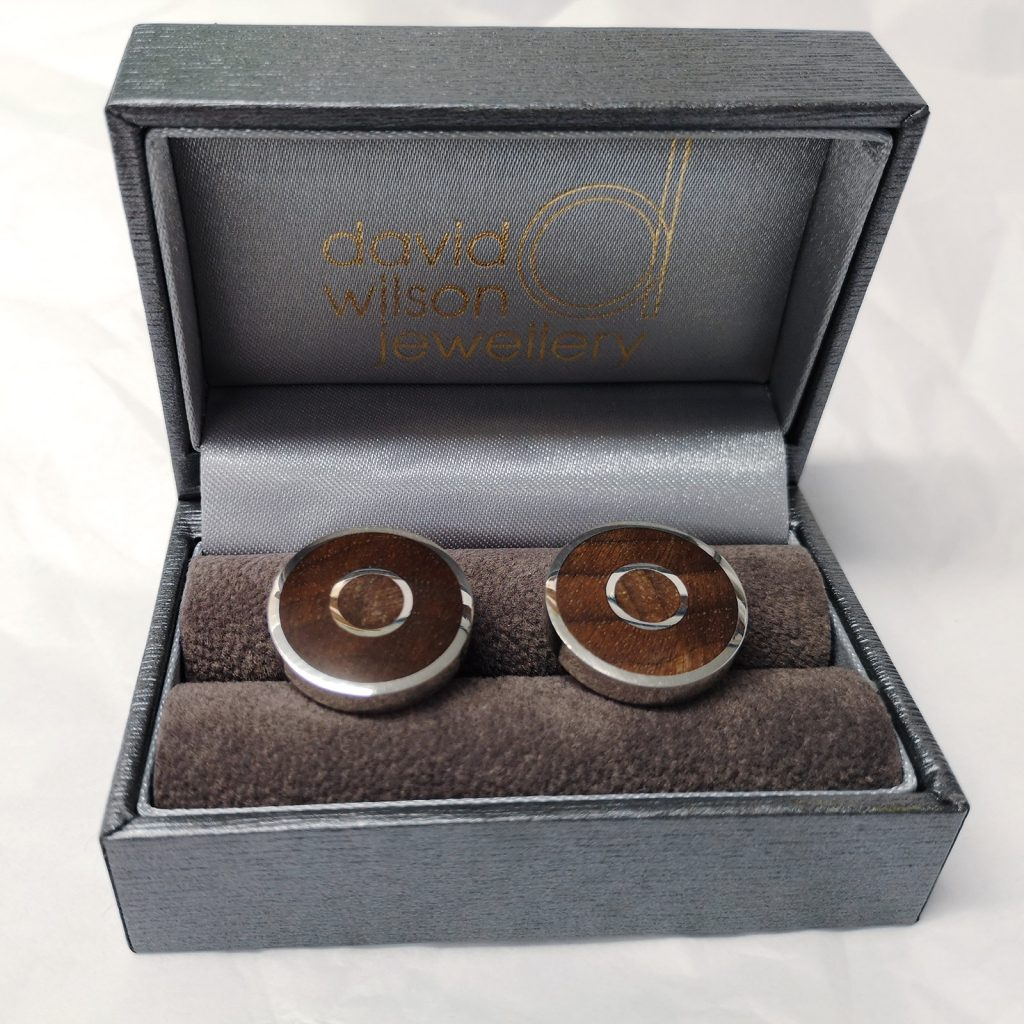 "Walnut Burl ""Concentric"" Cufflinks -- These cufflinks look and feel fantastic. I love them. I think you will too! Sterling Silver and Walnut Burl Cufflinks, Handmade. Measure approximately 19mm diameter. David Wilson Jewellery Shop"